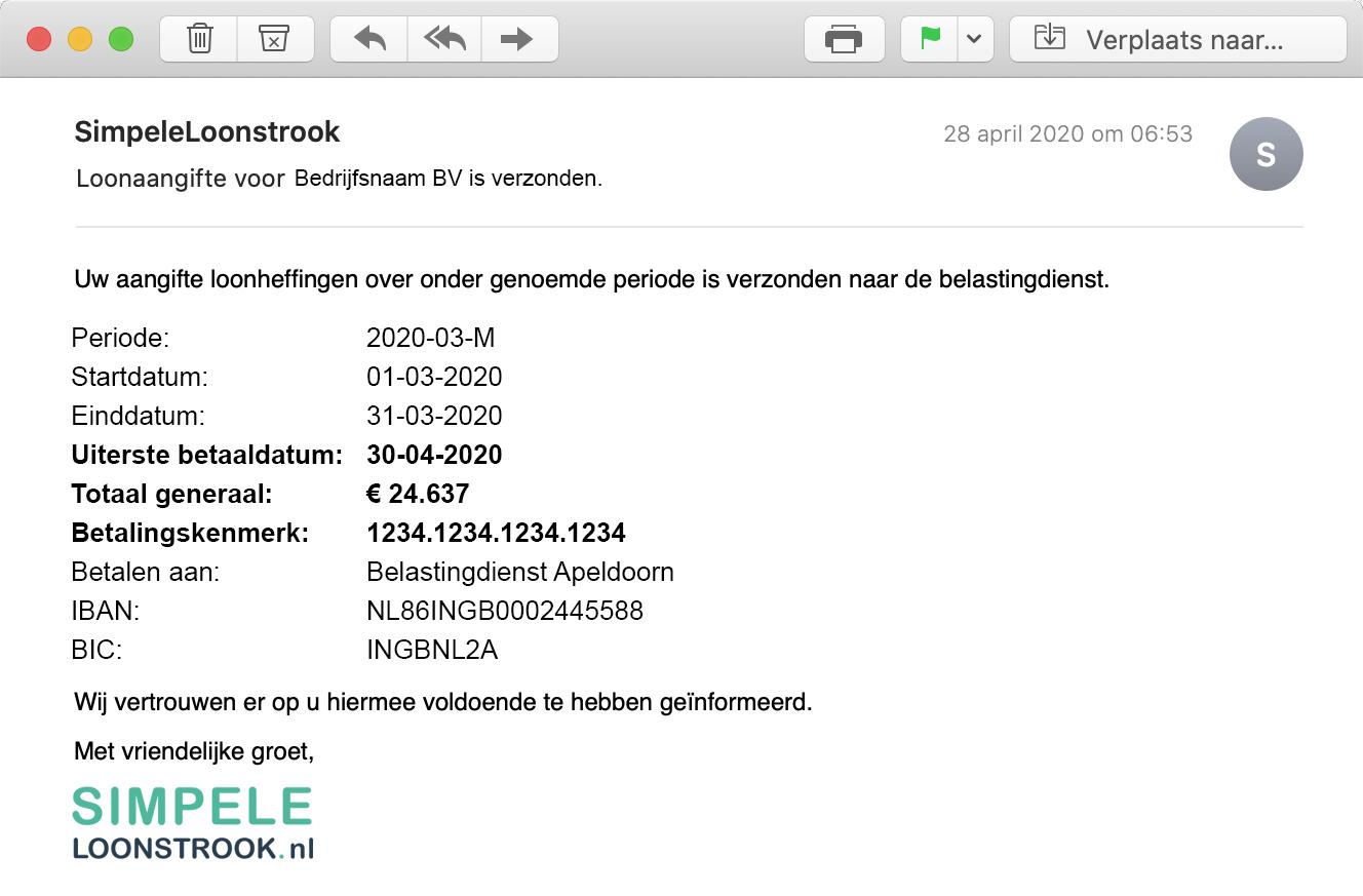 Email verstuurde Loonaangifte